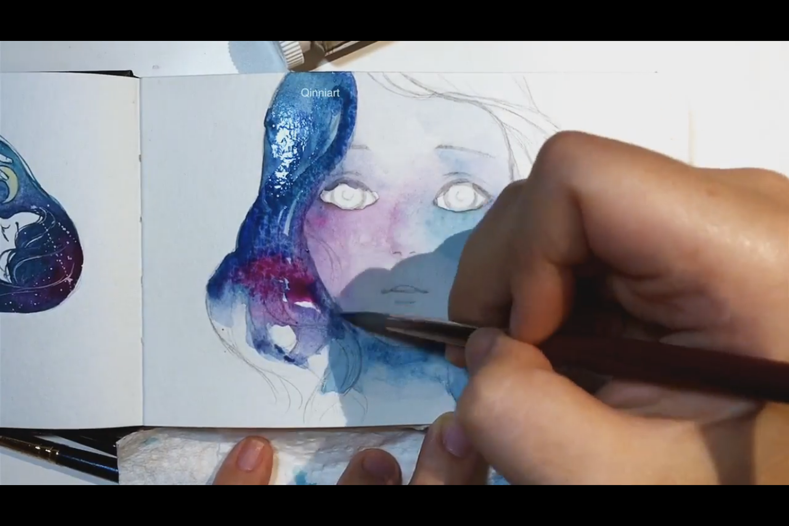 Waterpainting and gouache timelapse process by Qinni
